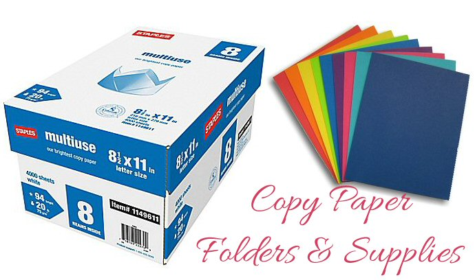 Office Supplies, Copy Paper, Folders