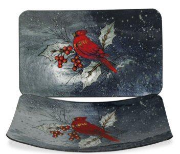 "Christmas Cardinal Plate - 16"" Rectangle"