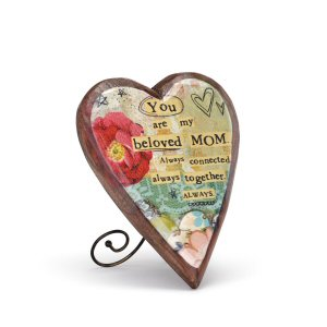 Mom Wood Carved Heart