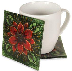 "Poinsettia Christmas 4"" Cozenza Glass Coaster Set"