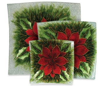 Poinsettia Christmas Glass 3 Piece Plate Set