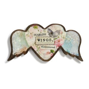 Fearless Wings Wood Carved Heart